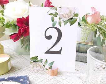 Floral Table Numbers Template  | Instant DOWNLOAD | Ivory Botanical | Flat 5x7 | Editable Colors | Mac or PC | Word & Pages