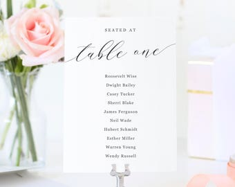 Seating Chart Cards, Seating Plan, Seating Signs, Modern Calligraphy | SUITE032