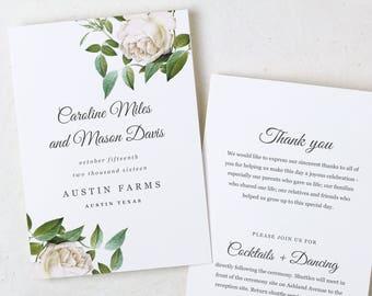 Program Template, Wedding Program, Instant Download, Vintage Program, Folded Program, Rustic Program, Ivory Roses, Vintage Botanical, Roses