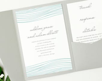 Pocket Wedding Invitation Template - INSTANT DOWNLOAD | Ocean | Edit in Word or Pages | Print it Yourself | Mac & PC
