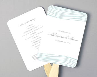 Instant Download | DIY Wedding Program Fan Template - Ocean - Editable Colors | Mac or PC | Word & Pages | 5x7