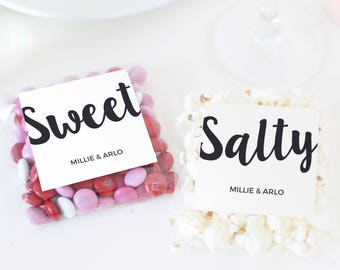 Sweet and Salty Labels, Food Favor Labels, Favor Stickers, Wedding Welcome Bag, Treat Bag Labels, Painted Script | SUITE031