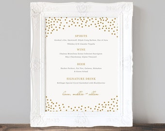 Printable Wedding Bar Menu Template, Gold Dots, Wedding Bar Sign, Signature Drinks, Cocktails, Custom Printable Bar Menu - INSTANT DOWNLOAD