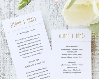 Instant Printable Wedding Program Template | INSTANT DOWNLOAD | Ticket | Flat Tea Length | Editable Colors | Mac or PC | Word & Pages