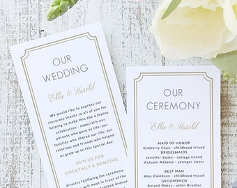 Instant Printable Wedding Program Template | INSTANT DOWNLOAD | Deco Classic | Flat Tea Length | Editable Colors | Mac or PC | Word & Pages