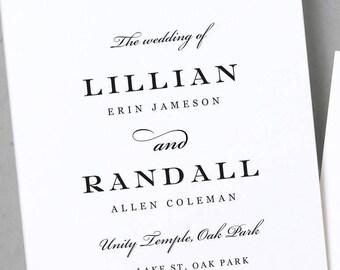 Wedding Program Template, Fancy Script, Printable Program, Classic Program, Elegant Program, Calligraphy Program, Instant Download