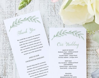 Instant Printable Wedding Program Template | INSTANT DOWNLOAD | Woodland | Flat Tea Length | Editable Colors | Mac or PC | Word & Pages