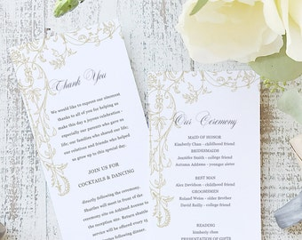 Instant Printable Wedding Program Template   INSTANT DOWNLOAD   Regatta   Flat Tea Length   Editable Colors   Mac or PC   Word & Pages