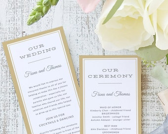 Instant Printable Wedding Program Template | INSTANT DOWNLOAD | Elegant | Flat Tea Length | Editable Colors | Mac or PC | Word & Pages