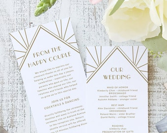 Instant Printable Wedding Program Template | INSTANT DOWNLOAD | Gatsby | Flat Tea Length | Editable Colors | Mac or PC | Word & Pages