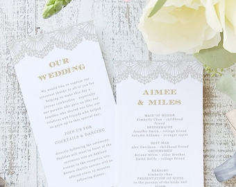 Instant Printable Wedding Program Template   INSTANT DOWNLOAD   Lace   Flat Tea Length   Editable Colors   Mac or PC   Word & Pages
