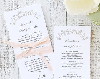 Instant Printable Wedding Program Template | INSTANT DOWNLOAD | Floral Wreath | Flat Tea Length | Editable Colors | Mac or PC | Word & Pages