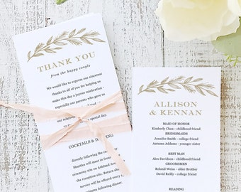 Instant Printable Wedding Program Template | INSTANT DOWNLOAD | Simple Wreath | Flat Tea Length | Editable Colors | Mac or PC | Word & Pages