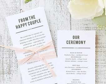 Instant Printable Wedding Program Template | INSTANT DOWNLOAD | Nightlife | Flat Tea Length | Editable Colors | Mac or PC | Word & Pages
