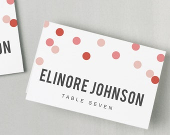 Printable Place Card Template | INSTANT DOWNLOAD | Confetti Escort Card | Editable Colors | Mac or PC | Word & Pages | Flat or Folded