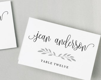 Printable Place Card Template | INSTANT DOWNLOAD | Casual Script Escort Card | Editable Colors | Mac or PC | Word & Pages | Flat or Folded