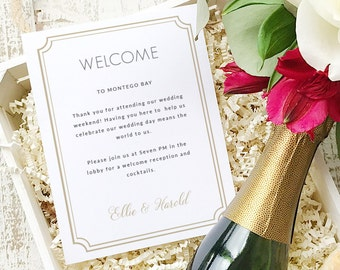 Wedding Welcome Note, Printable Wedding Welcome Bag Letter, Thank You, Deco Classic, Itinerary, Agenda, Hotel Card - INSTANT DOWNLOAD