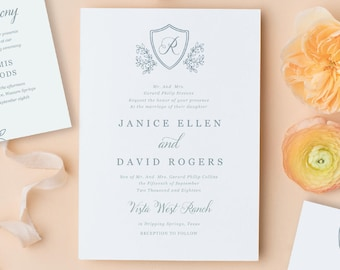 Regal Monogram, Wedding Monogram, Wedding Wreath, Invitation Template for Word or Pages, Printable Invitation, MAC or PC, Instant DOWNLOAD