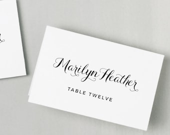 Printable Place Card Template | INSTANT DOWNLOAD | Calligrapher Escort Card | Editable Colors | Mac or PC | Word & Pages | Flat or Folded