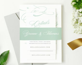 Printable Pocket Wedding Invitation - INSTANT DOWNLOAD | Aqua Script | Edit in Word or Pages | Print it Yourself | Mac & PC