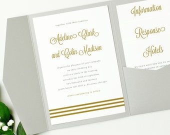 Pocket Wedding Invitation Template - INSTANT DOWNLOAD | Gold Script | Edit in Word or Pages | 100% Editable | Mac & PC