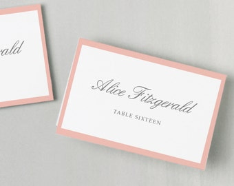 Printable Place Card Template | INSTANT DOWNLOAD | Grey and Pink | Escort Card | Editable Colors | Mac or PC | Word & Pages | Flat or Folded