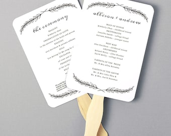 Instant Download | DIY Wedding Program Fan Template - Quill - Editable Colors | Mac or PC | Word & Pages | 5x7