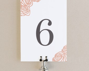 Table Numbers Template - DIY Printable  | Instant DOWNLOAD | Roses | Flat 5x7 | Editable Colors | Mac or PC | Word & Pages