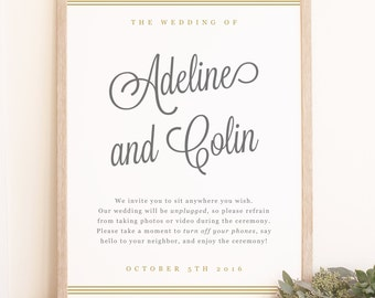 Printable Custom Wedding Welcome Sign Template, Gold Script, Word or Pages Mac or PC, Large, Editable Artwork Colors, INSTANT DOWNLOAD