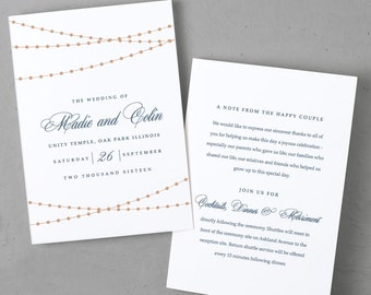 Rustic Printable Wedding Program Template | INSTANT DOWNLOAD | String of Lights | Folded 5x7 | Editable Colors | Mac or PC | Word & Pages