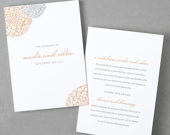 Printable Wedding Program Template | Instant DOWNLOAD | Blooms | Folded 5x7 | Mac or PC - Pages or Word | Easy DIY | Editable Artwork Colors
