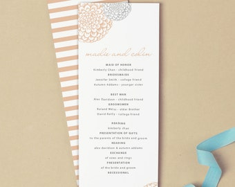 Printable Wedding Program Template | INSTANT DOWNLOAD | Blooms | Flat Tea Length | Editable Colors| Mac or PC | Word & Pages