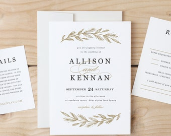 Printable Wedding Invitation Template | Simple Wreath | Word or Pages | MAC or PC | Editable Artwork Colors - instant DOWNLOAD