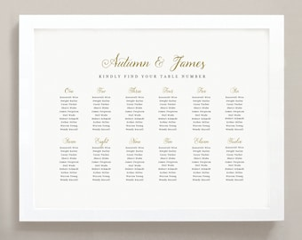 Printable Seating Chart Poster Template, Romantic Script, Word or Pages, 18x24, Editable Artwork Colors,  INSTANT DOWNLOAD