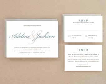 Printable Wedding Invitation Template | INSTANT DOWNLOAD | Script | Word or Pages | Easy DIY | Editable Artwork Colors