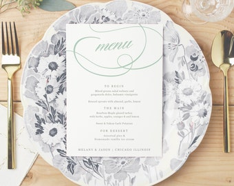 Printable Wedding Menu, Wedding Menu Template, Aqua Script, Mac or PC, 100% Editable, Cheap Wedding Menu, INSTANT DOWNLOAD