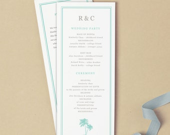 Printable Wedding Program Template | INSTANT DOWNLOAD | Palms | Flat Tea Length | Editable Colors | Mac or PC | Word & Pages