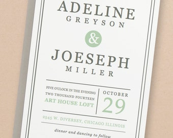 Printable Wedding Invitation Template | INSTANT DOWNLOAD | Mint Type | Word or Pages | Easy DIY | Editable Artwork Colors