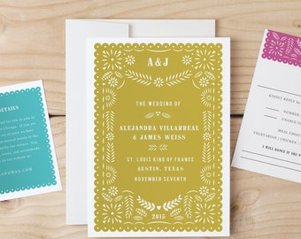 Instant DOWNLOAD Printable Wedding Invitation Template | Papel PIcado | Word or Pages | MAC or PC | Editable Artwork Colors