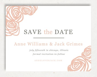 Printable Save the Date Template | INSTANT DOWNLOAD | Roses | Word or Pages Mac & PC | 4.25x5.5 | Any Colors