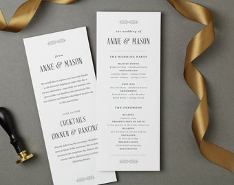Printable Wedding Program Template | INSTANT DOWNLOAD | Rustic | Flat Tea Length | Editable Colors | Mac or PC | Word & Pages