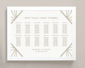 INSTANT DOWNLOAD | Printable Seating Chart Poster Template | Gatsby | Word or Pages | 18x24 | Editable Artwork Colors