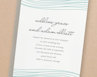 Printable Wedding Invitation Template | INSTANT DOWNLOAD | Ocean | Word or Pages | Easy DIY | Editable Artwork Colors