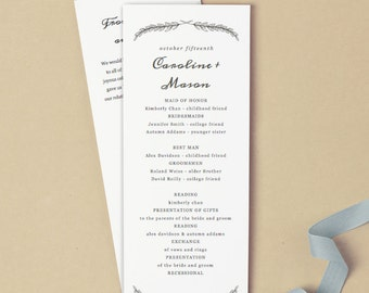 Print at Home Wedding Program Template | INSTANT DOWNLOAD | Quill | Flat Tea Length | Editable Colors | Mac or PC  Word & Pages