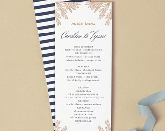 Printable Wedding Program Template | INSTANT DOWNLOAD | Botanic | Flat Tea Length | Editable Colors| Mac or PC | Word & Pages