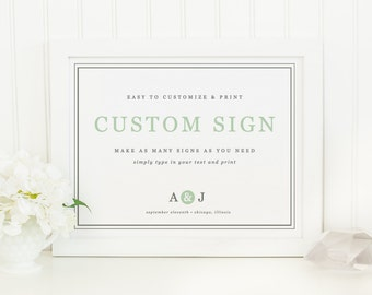 Printable Wedding Sign | INSTANT DOWNLOAD | Mint Type | Custom Wedding Sign | for Word or Pages Mac & PC | 11x8.5 | Wedding Decor