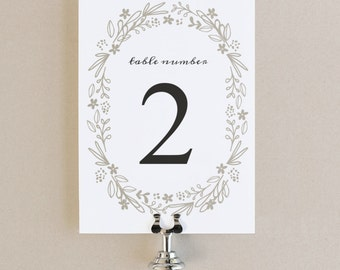 Printable Table Numbers, Table Number Template | Floral Wreath | Flat 5x7 | Editable Colors | Mac or PC | Word & Pages - Instant DOWNLOAD