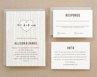 Printable Invitation Template | INSTANT DOWNLOAD | Initial Tree | Word or Pages | Easy DIY | Editable Artwork Colors