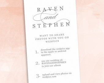 INSTANT DOWNLOAD - Printable Insert Card | Wedpics, Appy Couple, Instagram | Photography and Hashtag Site Insert Card
