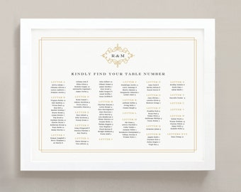 INSTANT DOWNLOAD | Printable Seating Chart Poster Template | Ornate | Word or Pages | 18x24 | Editable Artwork Colors
